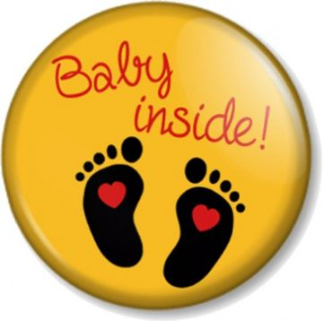 BABY INSIDE - Yellow - 25mm Pin Button Badge - Pregnant Mother Mum to Be Shower gift - Expecting